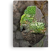 Looking Through the Stone Window to the Garden Canvas Print