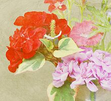 Floral still life on textured background by walstraasart