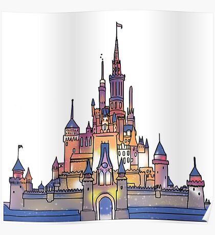 Watercolor Castle Poster