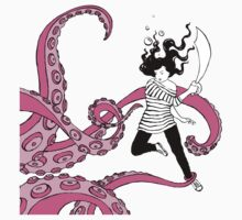 Squid Slayer Pink - Caroline Mudge Kids Clothes