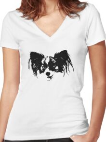 Dog head Women's Fitted V-Neck T-Shirt