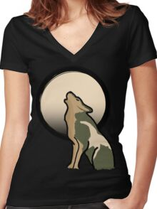 Wolf Link Moon (Twilight Princess) Women's Fitted V-Neck T-Shirt