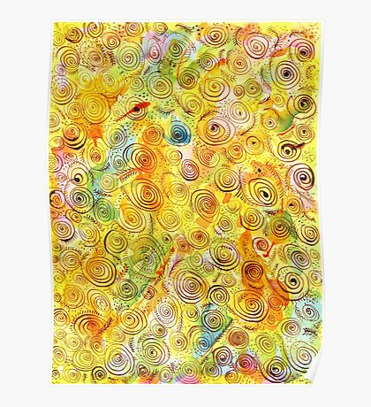 Abstract Background with Spirals on Yellow Green Pink Poster