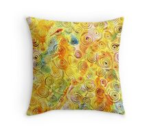 Abstract Background with Spirals on Yellow Green Pink Throw Pillow