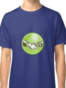 Handshake Black White Woodcut Circle Classic T-Shirt