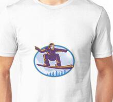 Snowboarder Holding Snowboard Retro Unisex T-Shirt