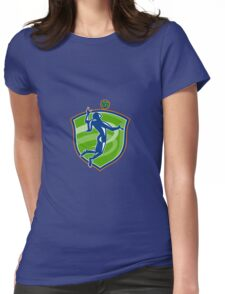 Volleyball Player Spiking Ball Side Shield Womens Fitted T-Shirt
