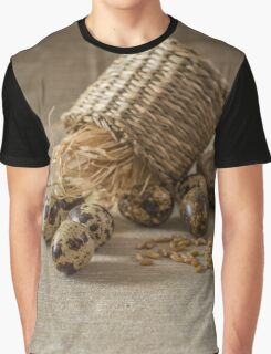 Quail eggs,wheat  on grey background Graphic T-Shirt