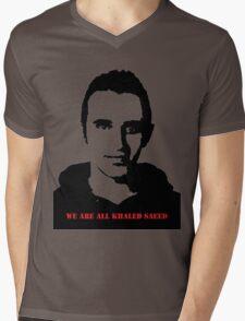 Khaled Saeed w/ Text  Mens V-Neck T-Shirt