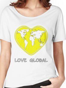Love Global T-Shirt Emblem Yellow, Black Text  Women's Relaxed Fit T-Shirt