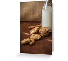 Homemade cookies and milk Greeting Card