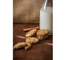 Homemade cookies and milk Photographic Print