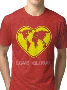 Love Global T-Shirt Emblem Yellow, White Text Tri-blend T-Shirt