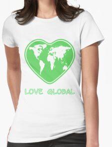 Love Global T-Shirt Emblem Green Womens Fitted T-Shirt