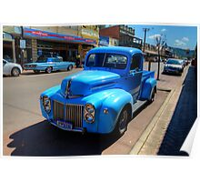 Classic cars in blue Poster
