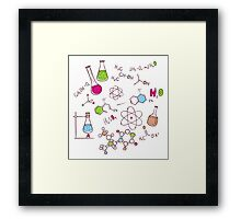 Hand draw chemistry background Framed Print