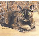 grumpy calico cat watercolor by Mike Theuer