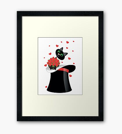 cat holding a flowers Framed Print