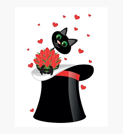 cat holding a flowers Photographic Print