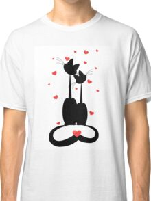 silhouettes of two cats in love. Vector illustration Classic T-Shirt