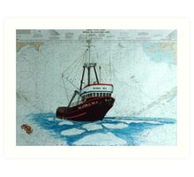 King Crab Fish Boat Alaska Sea Nautical Chart Cathy Peek Art Print