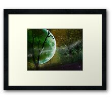 Athabaskan, Green Planet with Green Moon, Andromeda Galaxy Framed Print