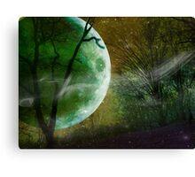 Athabaskan, Green Planet with Green Moon, Andromeda Galaxy Canvas Print