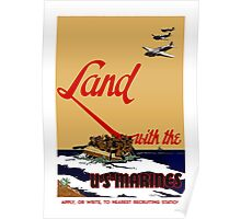 Land With The US Marines Poster