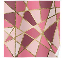 Girly Chic Pink & Burgundy Geo Gold Triangles Poster