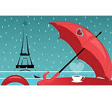 background with cafe de Paris in rain Photographic Print