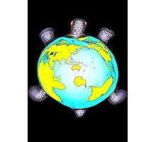Turtle Shell World Map Photographic Print