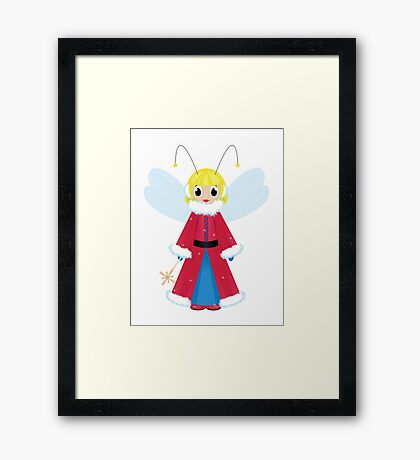 christmas fairy in red  on white background Framed Print