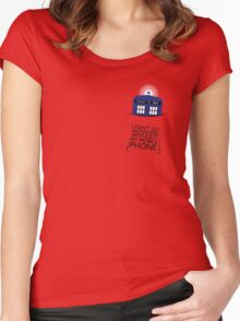 Mobile Phone - TARDIS Women's Fitted Scoop T-Shirt