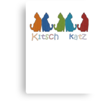 Kitsch Cats Silhouette Cat Collage Pattern Isolated Canvas Print