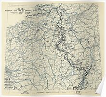 January 20 1945 World War II HQ Twelfth Army Group situation map Poster