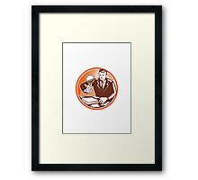 Businessman Magnifying Glass Looking Documents Framed Print