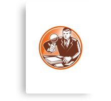 Businessman Magnifying Glass Looking Documents Canvas Print