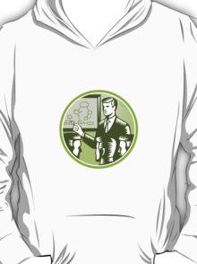 Businessman Presenting Boardroom Woodcut T-Shirt