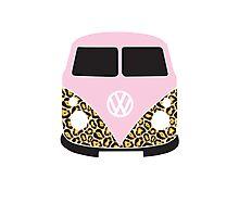 Leopard Print VW Camper Photographic Print