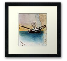 Fishing Boat MANDINGO Nautical Chart Cathy Peek Framed Print