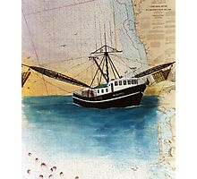Fishing Boat MANDINGO Nautical Chart Cathy Peek Photographic Print