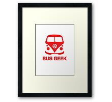 VW Bus Geek Red Framed Print