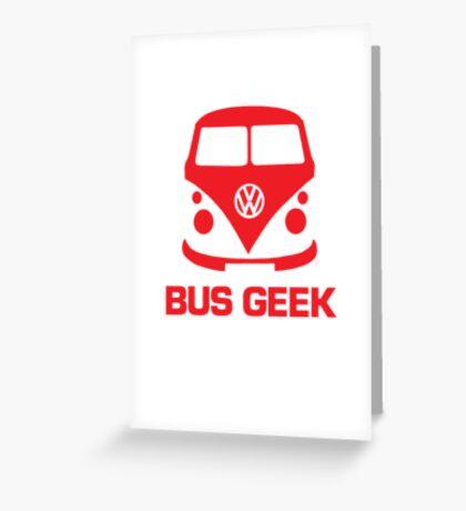 VW Bus Geek Red Greeting Card