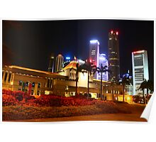 Parliament House Singapore and City, Urban Landscape, night Poster