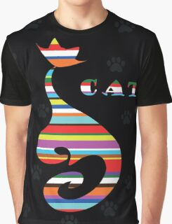 varicoloured Cat  on black background with paw Graphic T-Shirt
