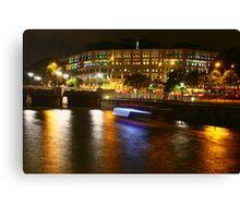 Urban Landscape, night Singapore, Singapore River, Ministry of Communication Canvas Print