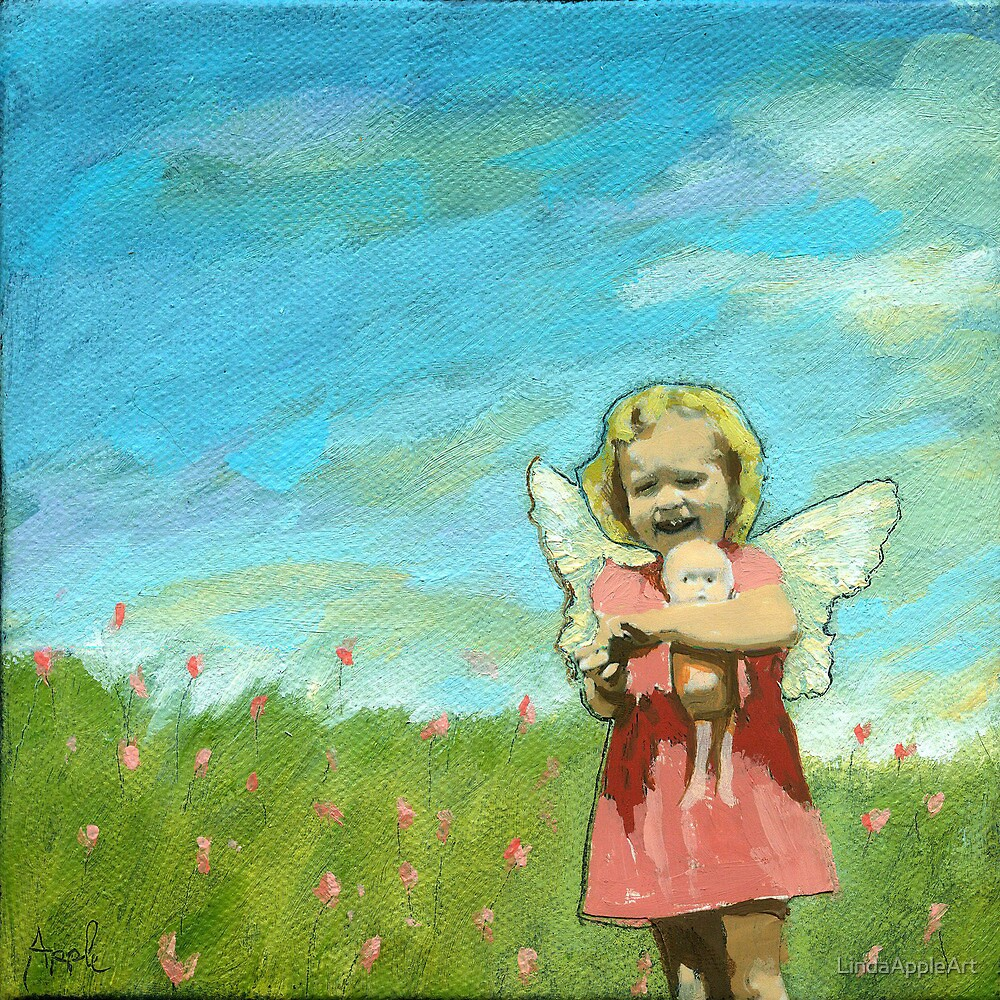 Little Angel - Figurative mixed media oil painting by LindaAppleArt