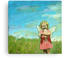 Little Angel - Figurative mixed media oil painting Canvas Print