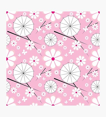 seamless pattern with jaran parasol and flowers Photographic Print