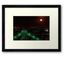 Green Steel & Orange Moon Framed Print